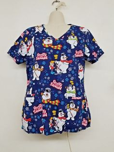 Frosty The Snowman Snow Christmas Scrub Top Uniform Size X-Small Nursing, Vet   #TMWarnerBrothers