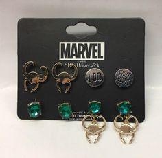 Marvel Her Universe Loki Earring Set Of 4 Marvel Room, Loki Marvel, Marvel Jokes, Marvel Fan, Bijou Geek, Marvel Clothes, Loki Clothes, Marvel Fashion, Fandom Jewelry