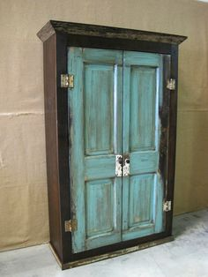 Oversized Reclaimed Wood Storage Armoire / Wardrobe- Dark Brown with Turquoise Doors on Etsy, $1,095.00
