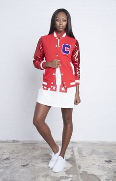Red sequin bomber from COVU clothing