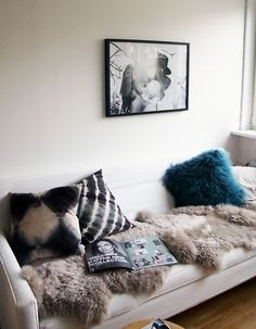 These sheepskins are a lovely neutral shade. I think these patterns and textures work nicely together.
