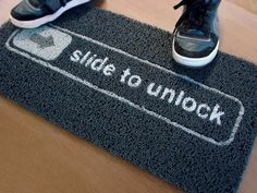 Just how geeky is this? the slide to unlock doormat for iphone lovers comes with the famous inscription inspired by iPhone Slide to Unlock, nothing better to place in front of your geeky office door. If you slide your foot across the doormat, it wi Cool Doormats, Funny Doormats, Ideas Geniales, Welcome Mats, Home Accessories, Nerdy, Hilarious, It's Funny, Decoration Home