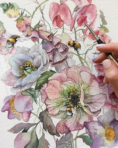 Illustration with summer mood 🐝🌸☀️ ⠀ 🎨 Watercolorist: ⠀ Watercolor Artists, Watercolor Illustration, Watercolor Flowers, Watercolor Paintings, Watercolours, Floral Paintings, Wow Art, Botanical Art, Painting & Drawing