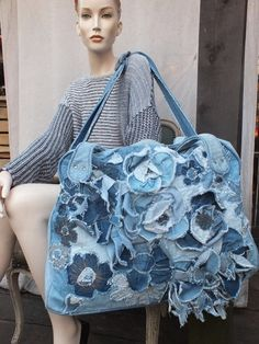 DENIM TRAVEL BAG, Big bag with recycled jeans.Unique,artsy , ready to ship.