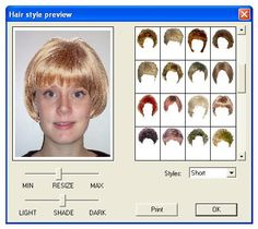 Virtual Hairstyles the selector is easy to use Virtual Hairstyle Software