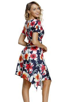 fe358c6d20 US$ 8.63-Navy Floral Print Twist Front Handkerchief Hem Dress Dropshipping  Handkerchief Hem Dress
