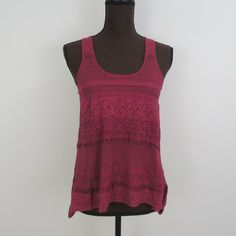 Pins and Needles Anthropologie Crochet Tank Purple Sleeveless Boho Top Size S  | eBay