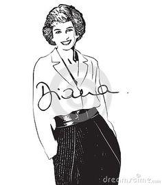 vector-photo-stylization-vector-black-white-illustration-diana-frances-spencer Diana, Spencer, Vector Photo, Illustration, Black White, Art, Black And White, Art Background, Black N White