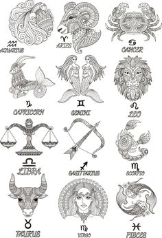 Colorful Zodiac emblems collection isolated on white backdrop. Horoscope Tattoos, Zodiac Sign Tattoos, Hindu Tattoos, Symbolic Tattoos, Geometric Tattoos, Tribal Tattoos, Maori Tattoos, Tattoos Skull, Polynesian Tattoos