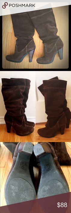 "HP!  KORS Michael Kors slouchy heeled boots Beautiful chocolate brown KORS slouchy suede boots. Purchased years ago and maybe worn twice. Size 8. More narrow than wide. Stacked heel is 4"". Total height is about 18"". No condition issues. Slight inherent wear to suede as shown in pics. KORS Michael Kors Shoes Heeled Boots"