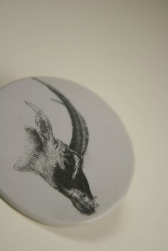 Round Grey Antelope Brooch by EscapetheWilde on Etsy, $12.00