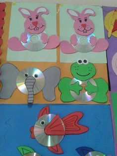 cd animal craft Crafts and Worksheets for Preschool,Toddler and Kindergarten Ocean Animal Crafts, Animal Crafts For Kids, Paper Crafts For Kids, Toddler Crafts, Art For Kids, Kids Fun, Cd Crafts, Daycare Crafts, Tape Crafts