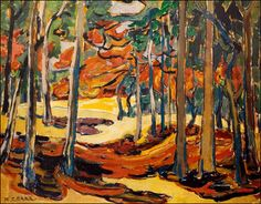 Love the Fall inspired art by Emily Carr, Group of Seven, etc - reminds me of the going to the cottage in the Fall, and the woods become painted in new colours Emily Carr, Tom Thomson, Canadian Painters, Canadian Artists, Landscape Art, Landscape Paintings, Landscapes, Acrylic Paintings, Group Of Seven Paintings