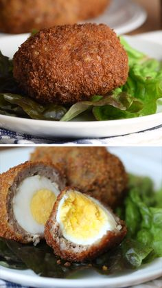 egg recipes Scotch Eggs are a hard (or soft!) boiled egg encased in sausage meat, coated in breadcrumbs, and then deep fried until golden and crisp. Perfect lunch box, picnic, or protein rich on-the-go snack! Brunch Recipes, Breakfast Recipes, Dinner Recipes, Healthy Eating Tips, Healthy Recipes, Protein Rich Recipes, Comida Picnic, Scotch Eggs Recipe, Boiled Egg Fry Recipe