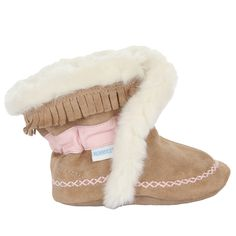 Robeez Fab Folk Bootie Soft Soles, Taupe, Girls, Baby, Infant, Pre-Walker, Toddler, Shoes, 0-24 Months, side