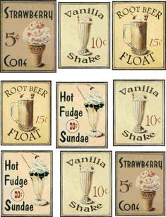 decoupage paper of vintage ice cream signs and posters root beer hot fudge sundae vanilla shake Images Vintage, Photo Vintage, Vintage Diy, Vintage Labels, Vintage Signs, Printable Vintage, Vintage Pictures, Vintage Menu, Vintage Stamps