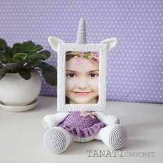Crochet Pattern of Photo Frame UNICORN Tutorial PDF file