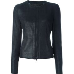 Drome Collarless Zip Jacket (1,320 CAD) found on Polyvore featuring women's fashion, outerwear, jackets, blue, drome, blue jackets, lambskin jacket, lambskin leather jacket and zip jacket
