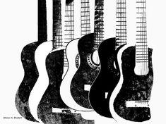 POP Art Black And White Guitars Digital Print by GrayWolfGallery