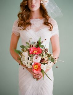 Pretty Peony + Anemone Bouquet captured by Elizabeth Messina