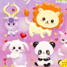 cute sponge stickers with animals lion giraffe panda