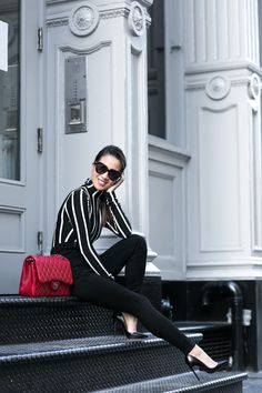 cool Vertical :: Striped top & High-waisted pants