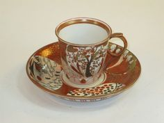 Antique Japanese Satsuma small Porcelain Tea Cup & Saucer