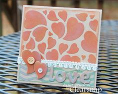 tami sanders using 3 of the NEW! ColorBox Pigment Ink colors and 2 of the NEW! ColorBox Art Screens to create a Valentine card. Embossing Technique too!