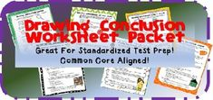 Drawing Conclusions Worksheet Packet! These worksheets teach inferencing skills and common vocabulary used in everyday life. The multiple choice questions are supplemented with a creative writing assignment at the end of each page. ...