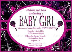 Muddy Girl Camo Baby Girl Shower Invitation, Pink Muddy Girl Baby Invite by AnnMarieDsgns on Etsy