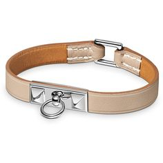 Hermès Micro Rivale Bracelet ($480) ❤ liked on Polyvore featuring jewelry, bracelets, hermes, leather bangle and leather jewelry