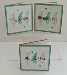 Four Feathers Thank You Cards  http://teriscraftspot.blogspot.co.uk/2014/09/four-feathers-thank-you-cards.html
