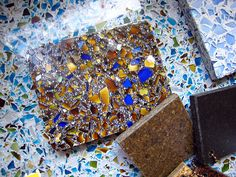 Recycled Glass Tiles - Good for use in places like art studios and restaurants. Hand crafted. Does not absorb water.