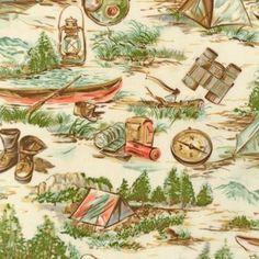 Moda Happy Campers Retro Camping Vintage Fabric Natural