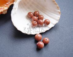 Goldstone Glass Beads 8 mm Round Smooth Ball by CreativeRoomKartA