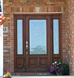mahogany exterior front doors with sidelites