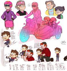 Relativity Falls AU notllorstel: More thoughts on relativity falls that I had to draw out. Granty Mabel owning a motorbike, wicked. Grenda and Candy as grannies, these are not sweet old ladies. Stanfords huge crush on Dan, yeeeeeep.