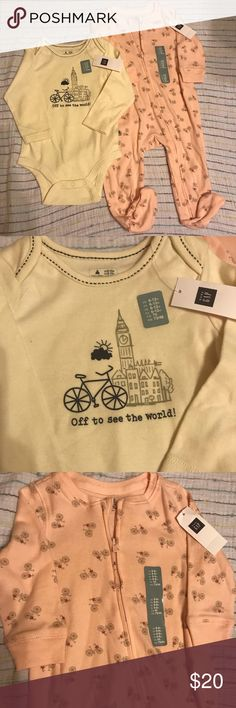 "Baby Gap bicycles bodysuit & pj set NWT Set includes a long sleeve bodysuit ""Off to see the world!"" size 6-12 months and pink footed sleeper with little bicycles, size 6-9 months. Perfect for the family that loves bike rides & other outdoor adventures! Originally purchased from Gap, smoke/pet free home. GAP Matching Sets"