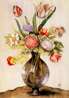 Flowers in a Smoky Vase by Garzoni, Giovanna Illustration Botanique, Botanical Illustration, Illustration Art, Art Floral, Floral Prints, Art Prints, Flower Of Life, Flower Art, Impressions Botaniques