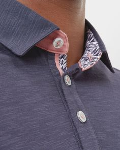Striped trim polo shirt - Navy | Tops and T-shirts | Ted Baker UK