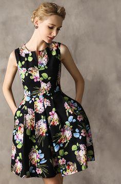 Black Floral Pattern Sleeveless Satin Designer Dress - Morpheus Boutique