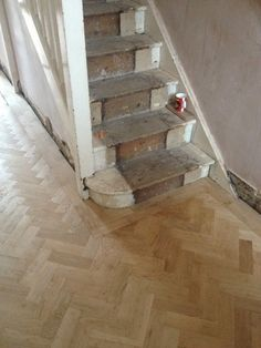 Unfinished Oak Parquet Flooring Herringbone Design Reclaimed Parquet Flooring, Hall Flooring, Flooring For Stairs, Best Flooring, Living Room Flooring, Timber Flooring, Kitchen Flooring, Hardwood Floors, Hallway Inspiration