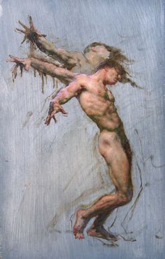 "Robert Liberace Icarus Oil on panel -2011 30.48 x 45.72 cm (12"" x 18"")"