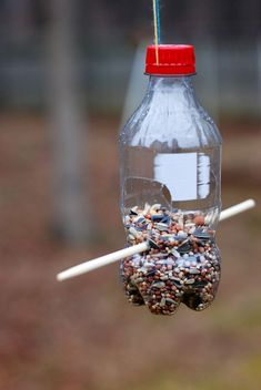 Make a recycled bird feeder out of a coke bottle - great idea! Make a recycled bird Bird Feeder Craft, Bird House Feeder, Garden Crafts, Garden Projects, Craft Projects, Fun Crafts, Crafts For Kids, Homemade Bird Feeders, Bird Houses Diy
