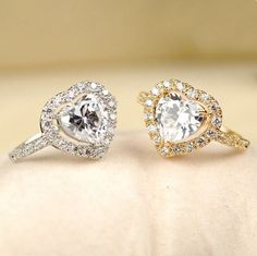 Sweet Heart Love Women Crystal Alloy Gold Plated Ring , Two Colors Available