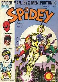 Spidey 25 des éditions Lug avec les X-Men, Photonik et l'Araignée
