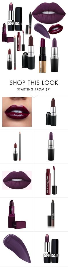 Purple Fall Lipsticks by rosegoldpearls featuring beauty products from Christian Dior, Bobbi Brown Cosmetics, MAC Cosmetics, Lipstick Queen, Charlotte Russe and NARS Cosmetics *affiliate link included