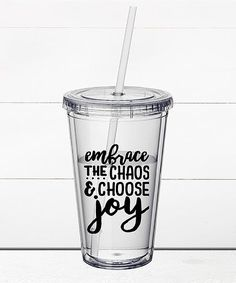 Liberty & Lilac Paper Co. Embrace the Chaos and Choose Joy 16-Oz. Travel Tumbler | zulily