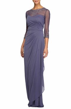Main Image - Alex Evenings Embellished A-Line Gown (Regular & Petite)