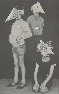 Bird Masks - creepy as hell. Paper Face Mask, Face Masks, Bird Masks, Animal Masks, Vintage Halloween, Happy Halloween, Art Inspo, Art Reference, Vintage Photos